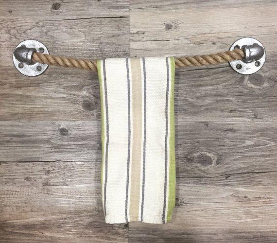 Rustic Nautical Bathroom Decor: Rustic, Industrial, Nautical Handmade Towel Holder