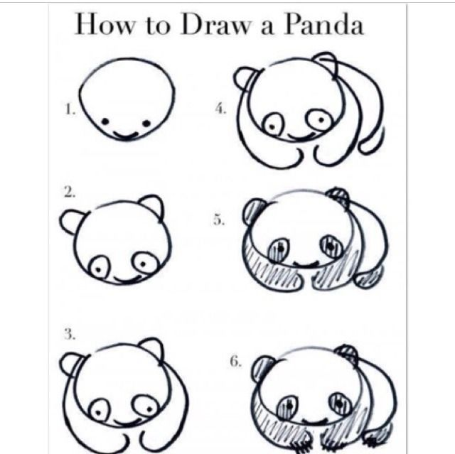 How To Draw A Cute Little Panda With Images Drawings