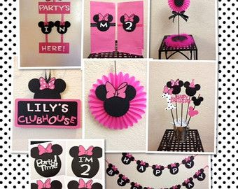 Hot pink Minnie Mouse Happy Birthday by MomentzandMemories Baby