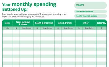 monthly spending sheet
