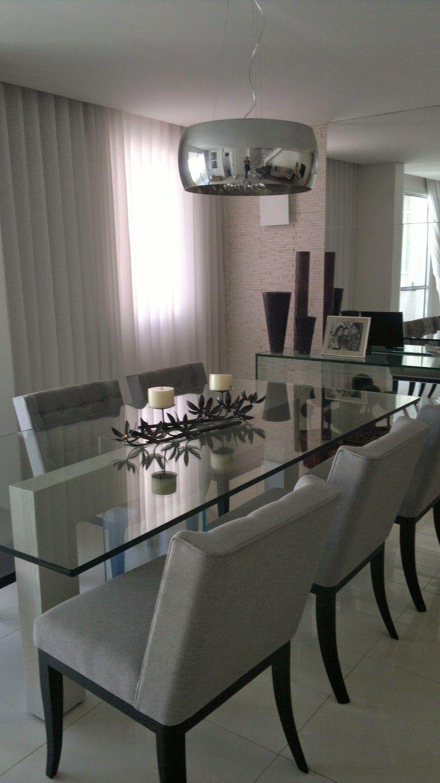 Mesa De Vidro No Jantar Interiores Pinterest Mesa De Vidro  -> Lustres Para Sala De Jantar Com Mesa Quadrada