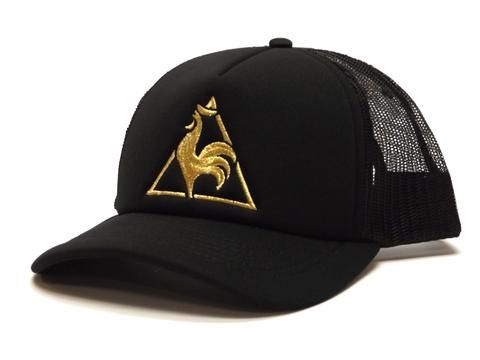 9e3bfe31f6 Le Coq Sportif Feathers Cap in Black and Gold #lecoqsportif #snapback