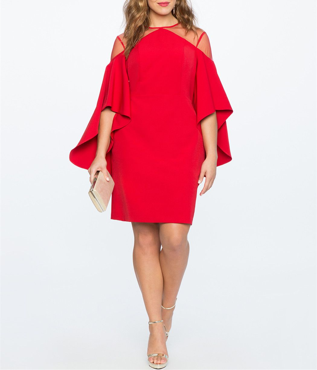 Elegant red plus size party dresshalf sleeves homecoming dresssee