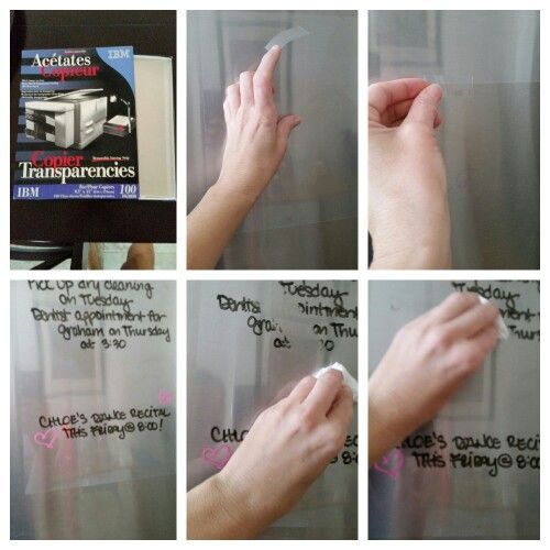 Diy Dry Erase Board For A Stainless Steel Refrigerator Easy To Create With A Sheet Of Transp Diy Dry Erase Board Dry Erase Board Stainless Steel Refrigerator