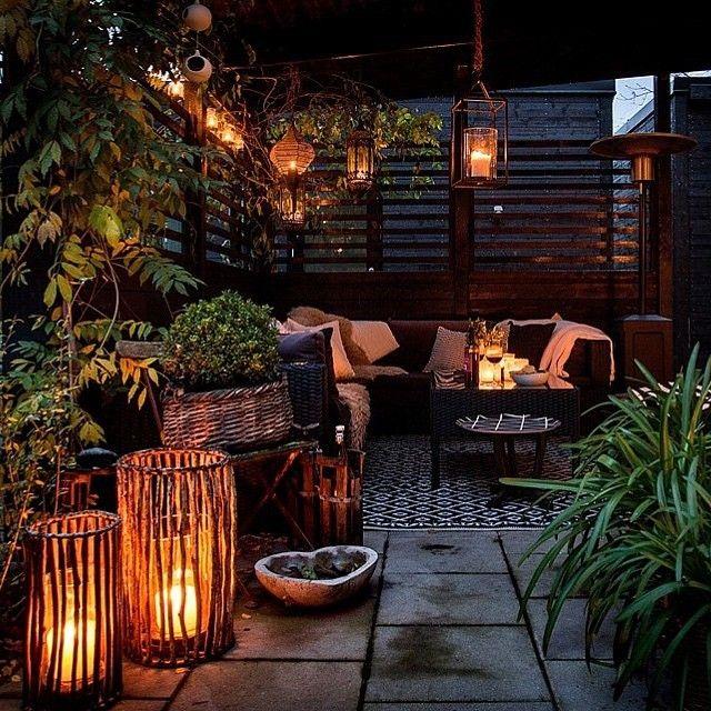 romantisch, garten, terasse, laterne, kerzen, beleuchtung, sofa ...