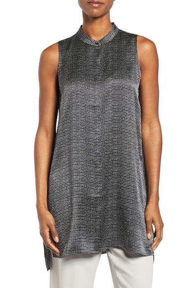 cfc0d992fcc41 Eileen Fisher Print Hammered Silk Mandarin Collar Tunic available at   Nordstrom