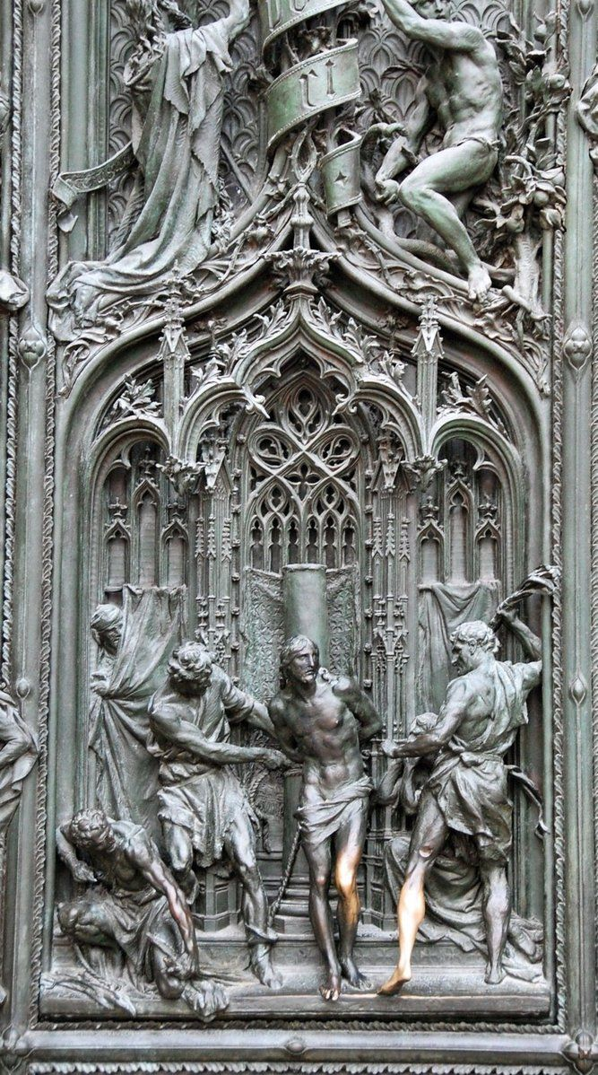 Milan cathedral detail from main bronze gate flagellation of