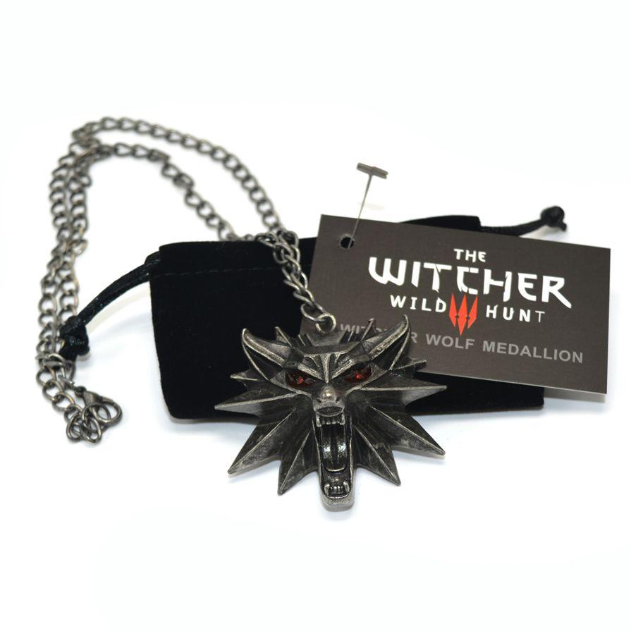 The Witcher 3 Wild Hunt Medallón Colgante y Collar de Cadena 1 Bolsas y 1 Tarjeta de Precio Al Por Mayor Barato