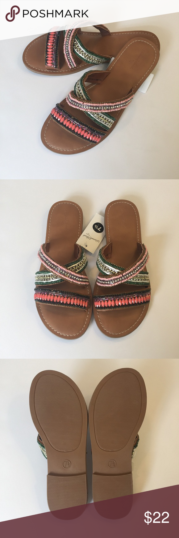 8eb5fedf237a Universal Thread Zelma Beaded Slide Sandals These are brand new with the  original tag. Never Worn. Faux leather with crisscrossed straps and  multicolored ...