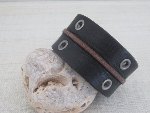 Hey, I found this really awesome Etsy listing at https://www.etsy.com/listing/222386884/mens-leather-cuff-repurposed-upcycled