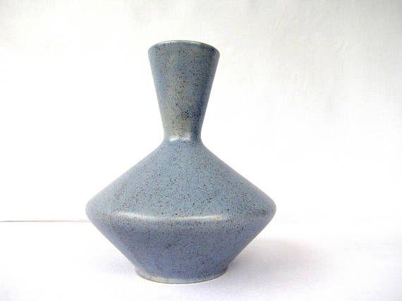 Royal Haeger Mid Century Modern Vase Blue Speckled Rg 93 Ceramic