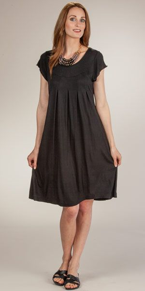 bc2dba0dc54 La Cera Plus Dresses - Short Sleeve Rayon Knit Knee Length Dress in Black