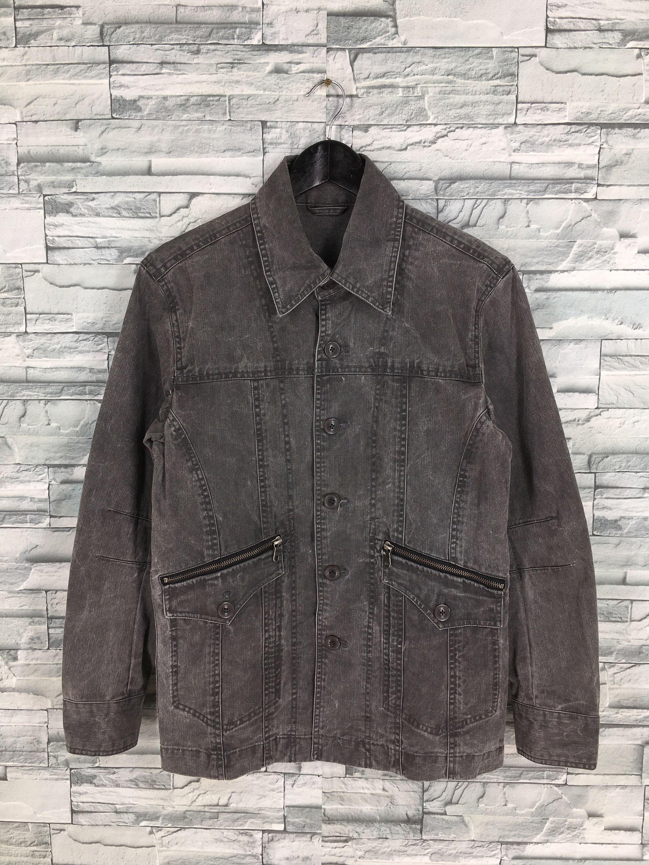 Kansai Jeans Denim Jacket Large Vintage 90/'s Kansai Yamamoto Casual Jeans Jacket Kansai Japan Black Denim Button Jeans Coat Size L