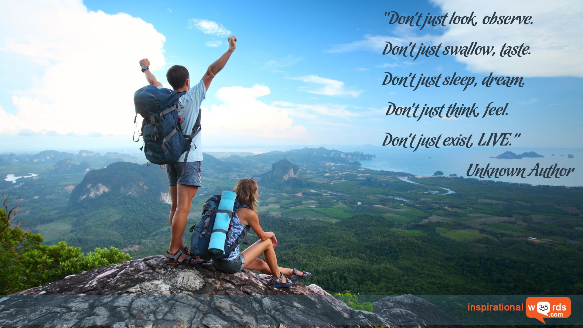 """Inspirational Wallpaper Quote. Unknown Author """"Don't just ..."""