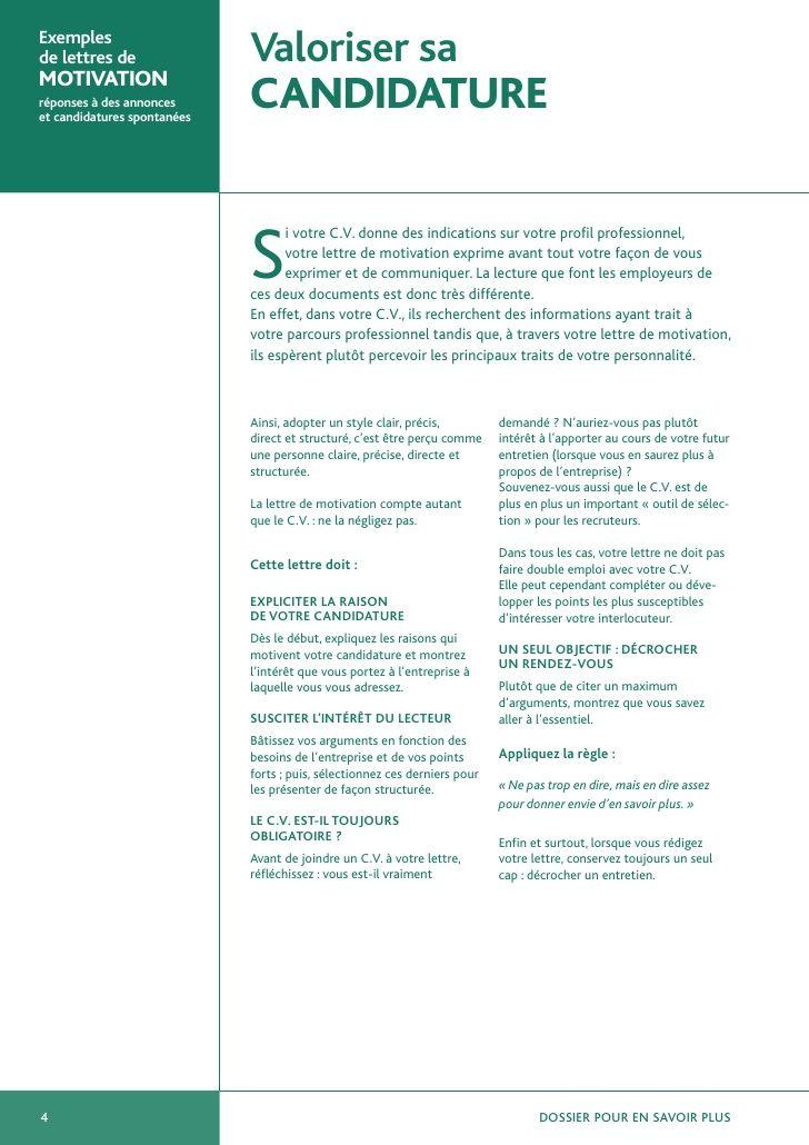 Exemples De Lettres De Motivation Job Advice Job Search Curriculum Vitae