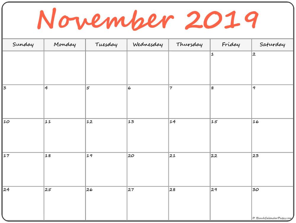 November 2019 Calendar Calendar Printables Printable Calendar Word Printable Calendar Pages