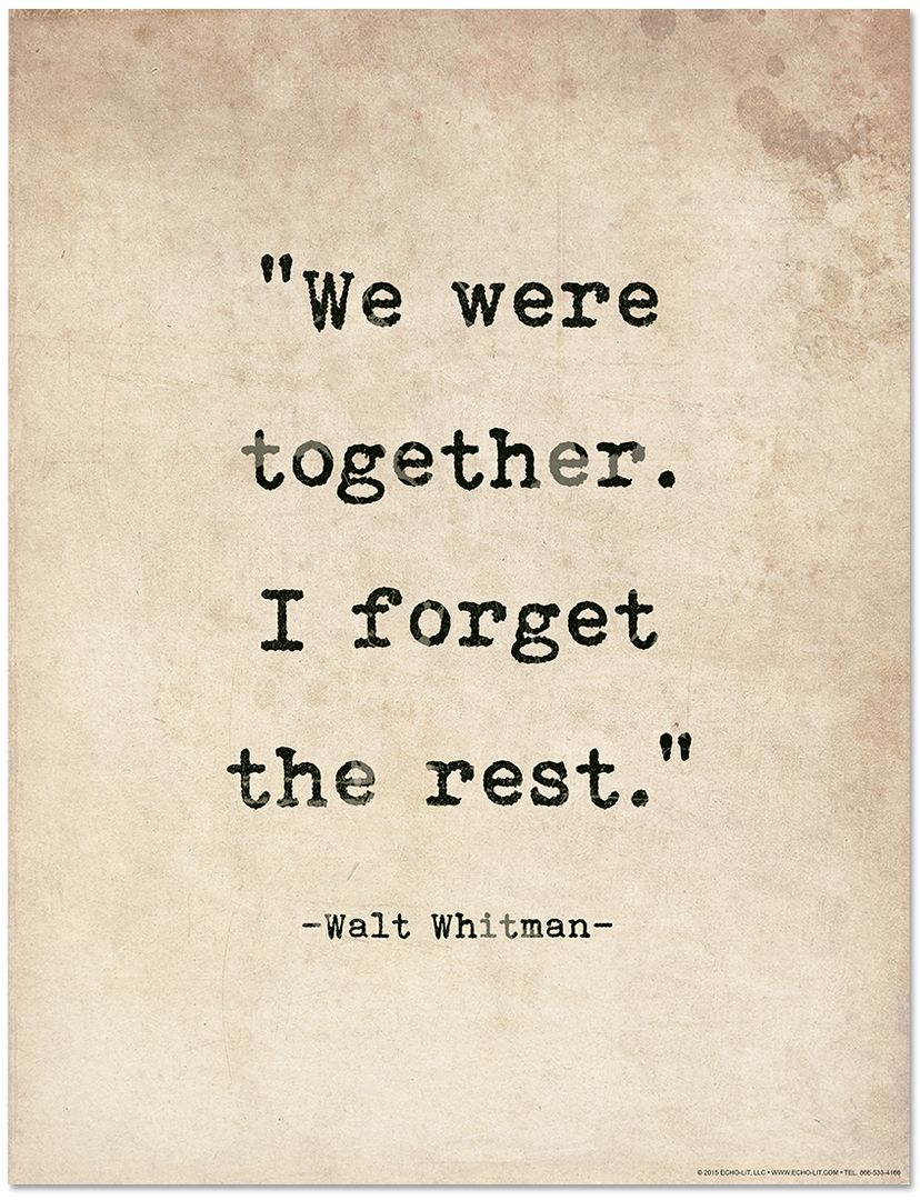 Romantic Quote Poster Walt Whitman Literary Print For Home Or