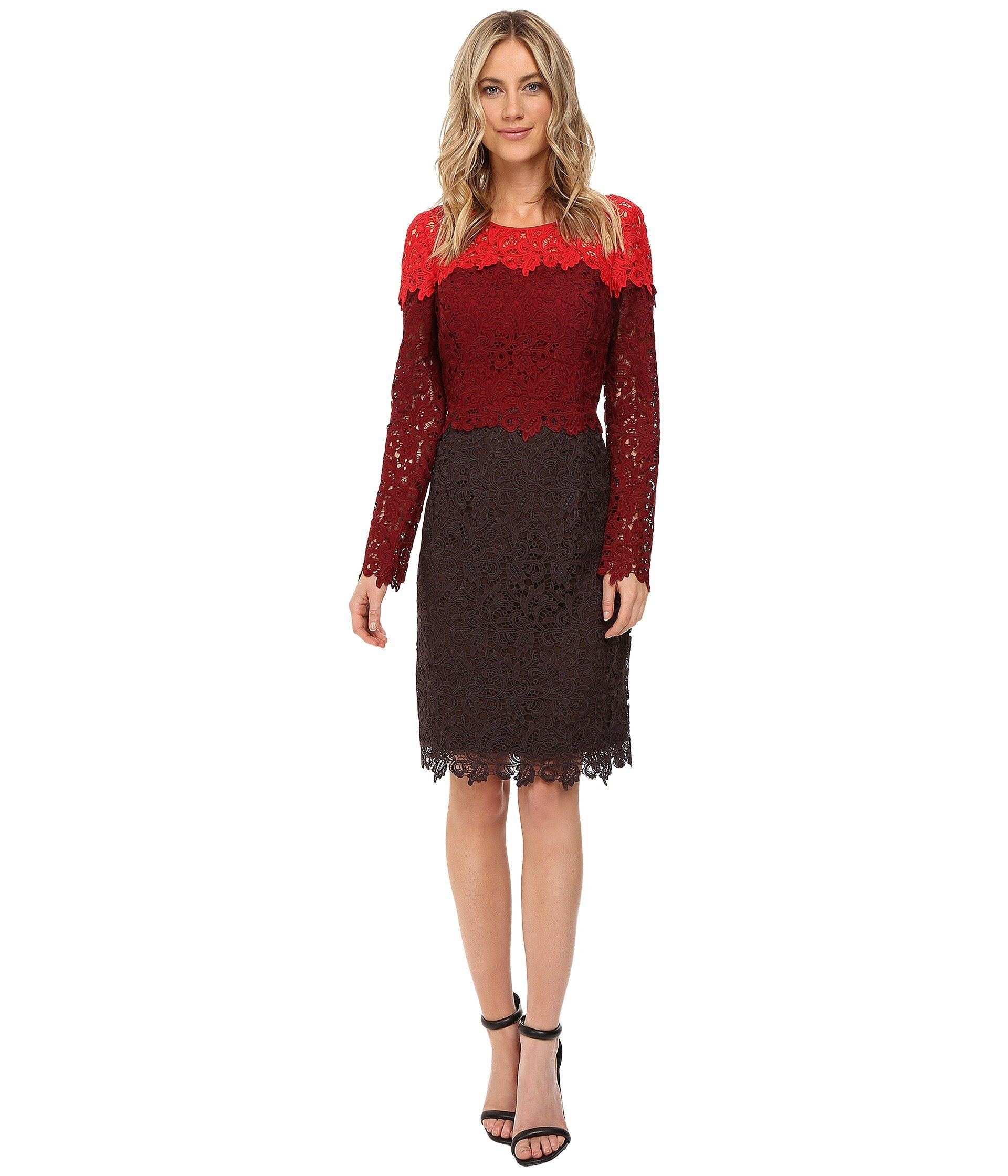 Nue by shani womenus tricolor lace dress redwinechocolate dress a