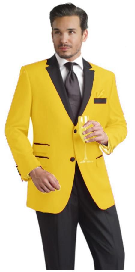 SKU#YLQ22 Yellow Two Button Notch Party Suit & Tuxedo & Blazer w ...