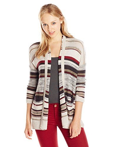 Billabong Juniors Outside Lines Stripe Lightweight Oversized Cardigan  Sweater Dark Athletic Grey Medium    Be sure to check out this awesome  product. 83f3b5824