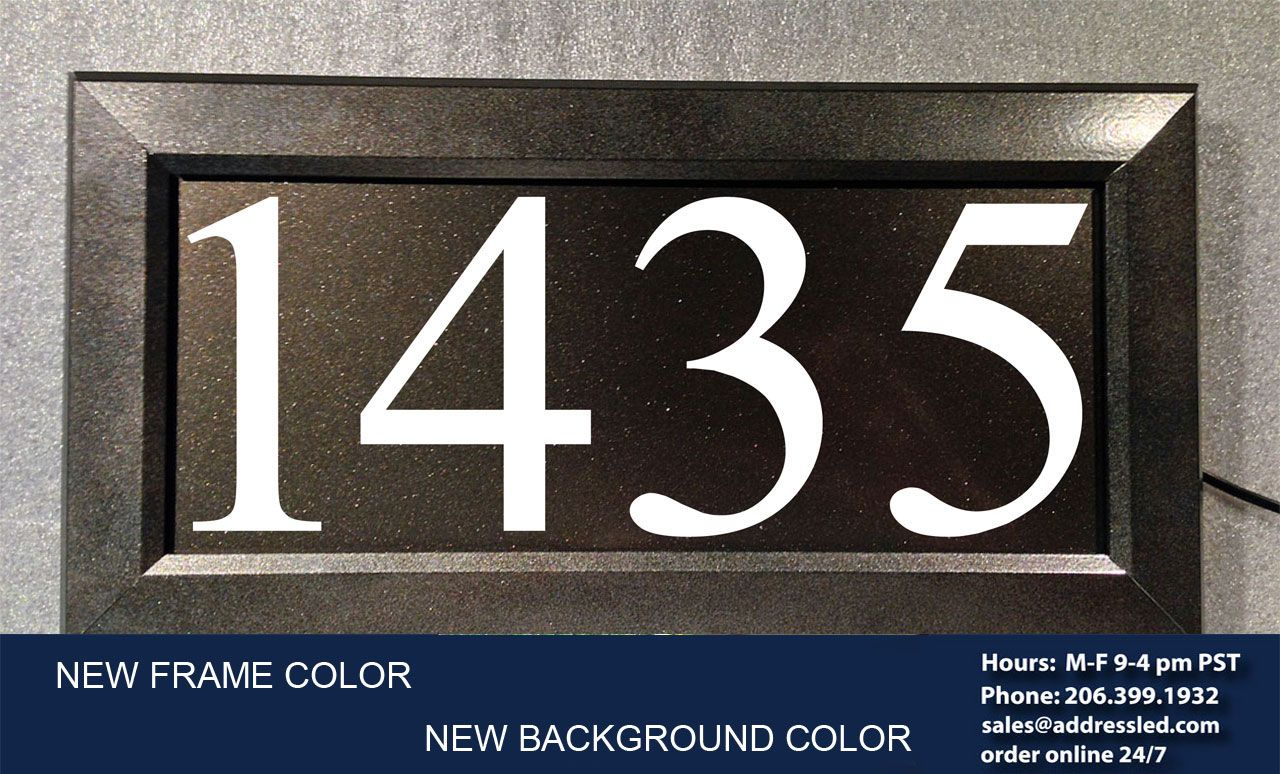 New dark bronze metallic frame color and matching background color for led illuminated address signs from