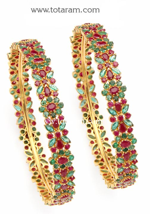 658d21141e7 22K Gold Ruby & Emerald Bangles - Set of 2(1 Pair). - GBL605 - Indian Jewelry  Designs from Totaram Jewelers