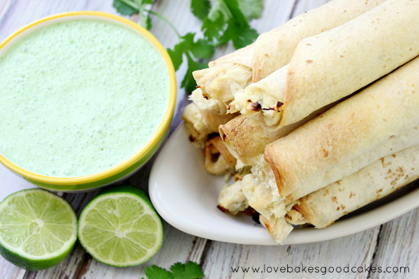 Homegating and Spicy Jalapeno Chicken Taquitos with Cilantro Lime Cream Sauce | Love Bakes Good Cakes