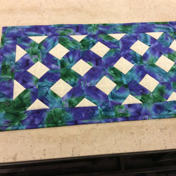 Purple Lattice Table Runner/peacock Green By SimplyQuiltingbyBarb