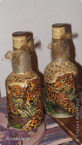 Декор предметов Декупаж Декупаж бутылок Бутылки стеклянные Краска Салфетки Скорлупа яичная фото 7
