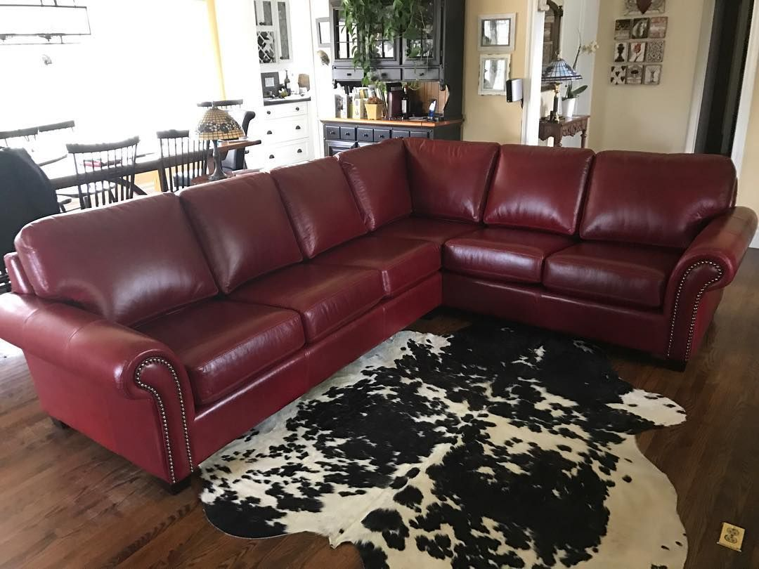 The Bella Leather Sectional Red Sofa Living Room Cow Rug Living Room Living Room Leather