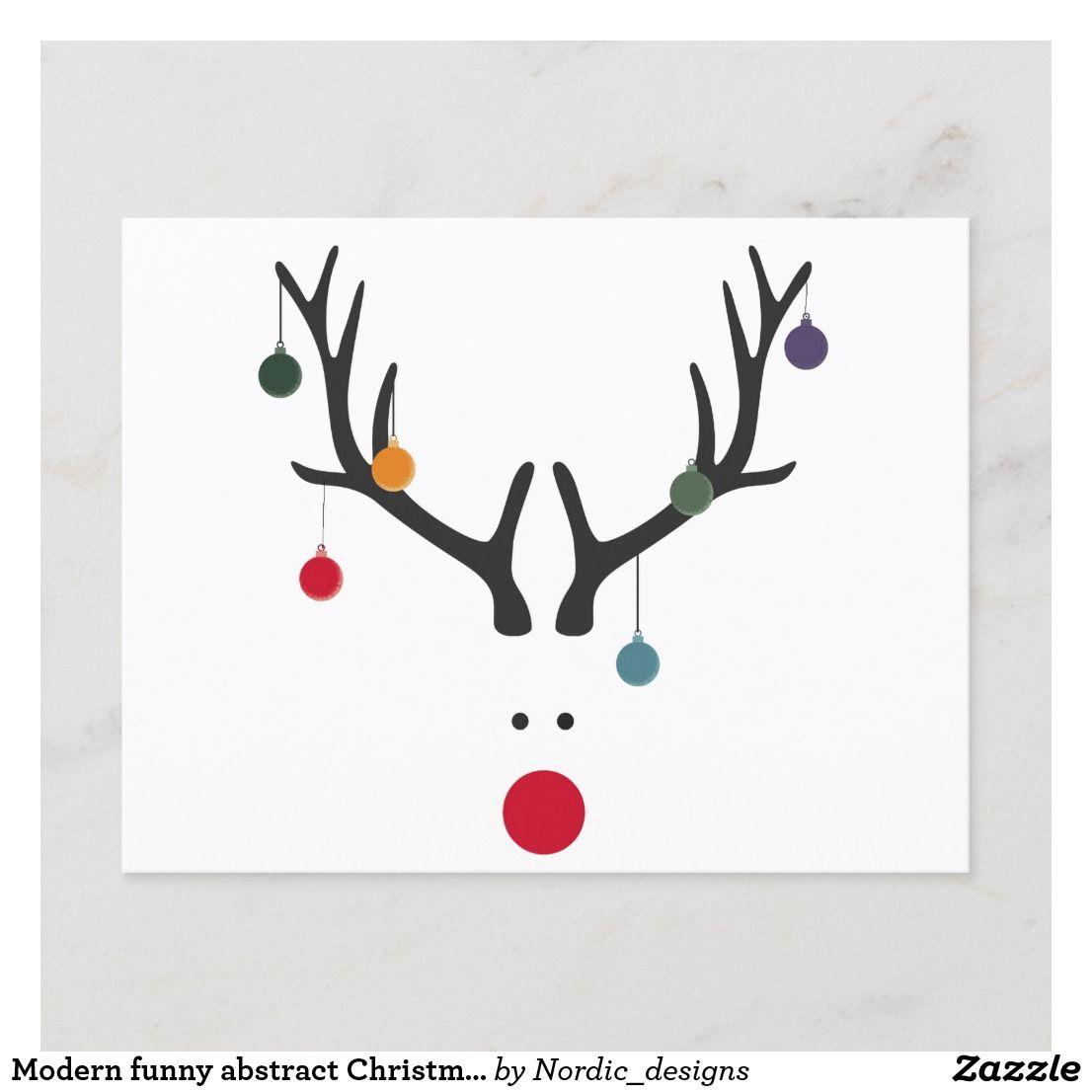 Carte Postale Pour Les Fêtes Renne abstrait drôle moderne de Noël
