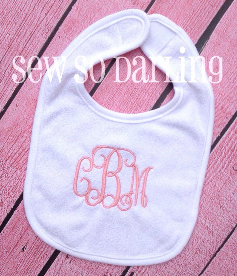 Monogrammed Bib Baby Girl Monogram Bib Monogram Baby Bib Baby Gift Baby Girl Bib 3 Initials Bib By Sew With Images Baby Monogram Monogram Baby Girl Baby Girl Bib