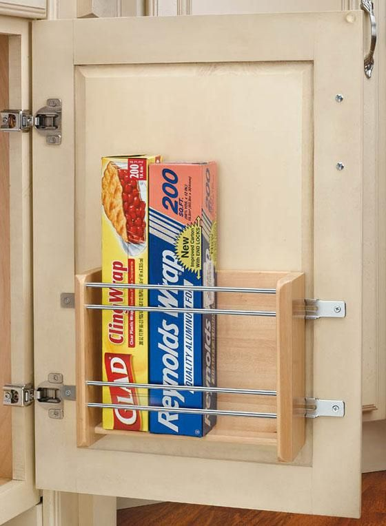 Save drawer space by placing a rack on the inside of any cabinet rev a shelf small door mount foil rack good idea for kitchen and bathroom planetlyrics Images