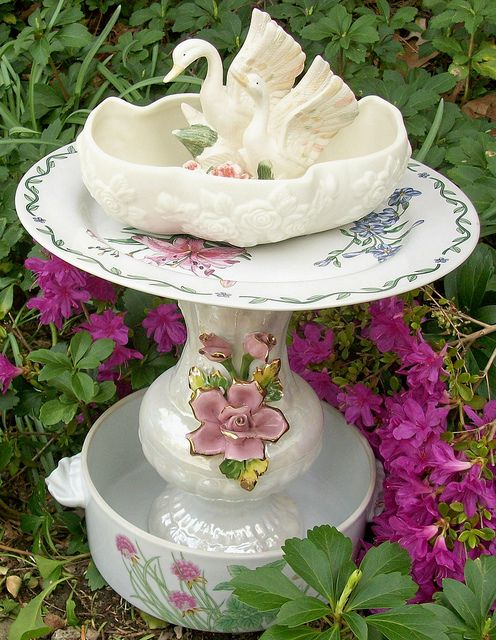 Pink rose shabby bird bath | Shabby chic | Pinterest ...