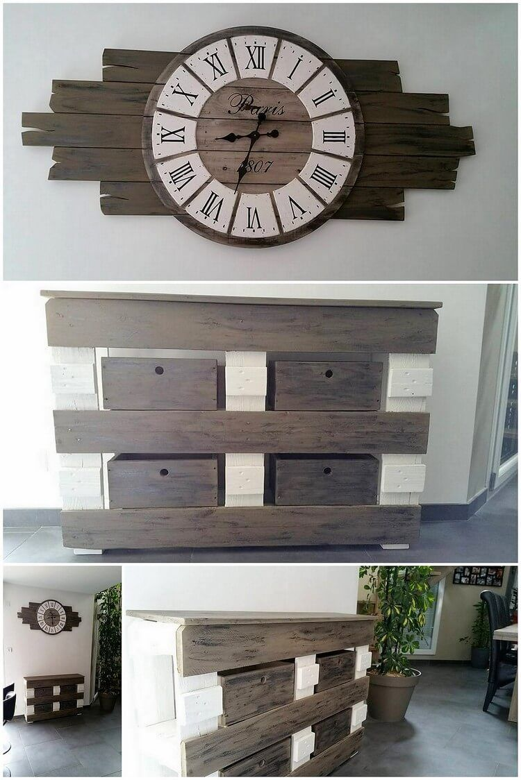 Cool and easy diy projects made with old wooden pallets wall clock