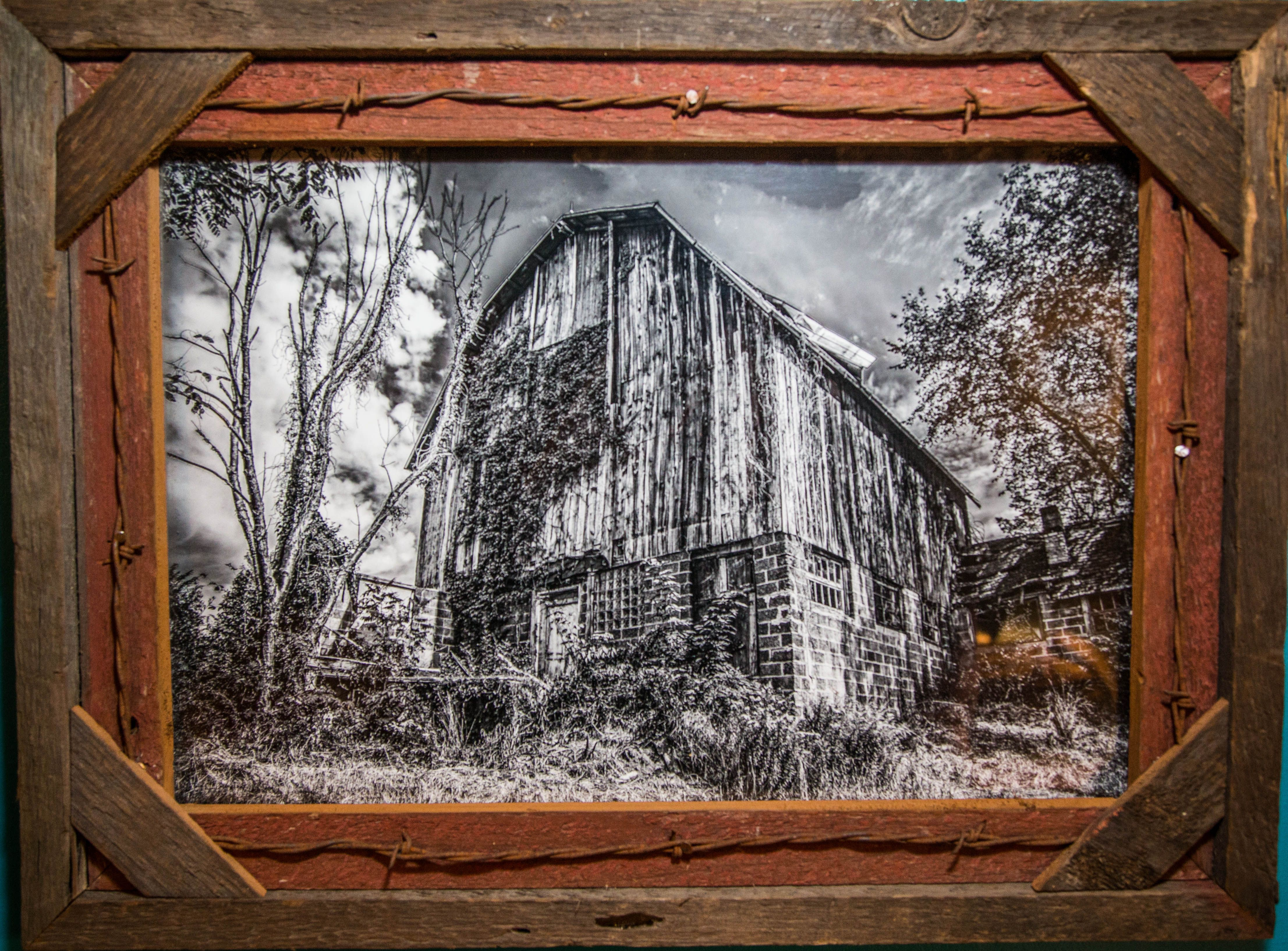 Barn wood frame with barbed wire. Artwork by Mbunavagephotography ...