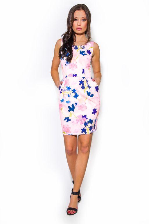 Sukienka Bombka We Wzor Akwarelowych Kwiatow Dresses Fashion High Neck Dress