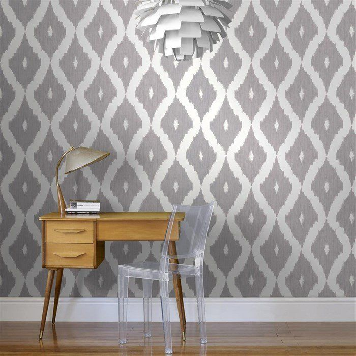 Kellys Ikat Wallpaper in White and Soft Grey design by Kelly Hoppen f