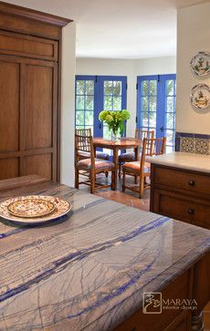 California Mission Style Blue Kitchen Traditional Santa Barbara Maraya Interior Design