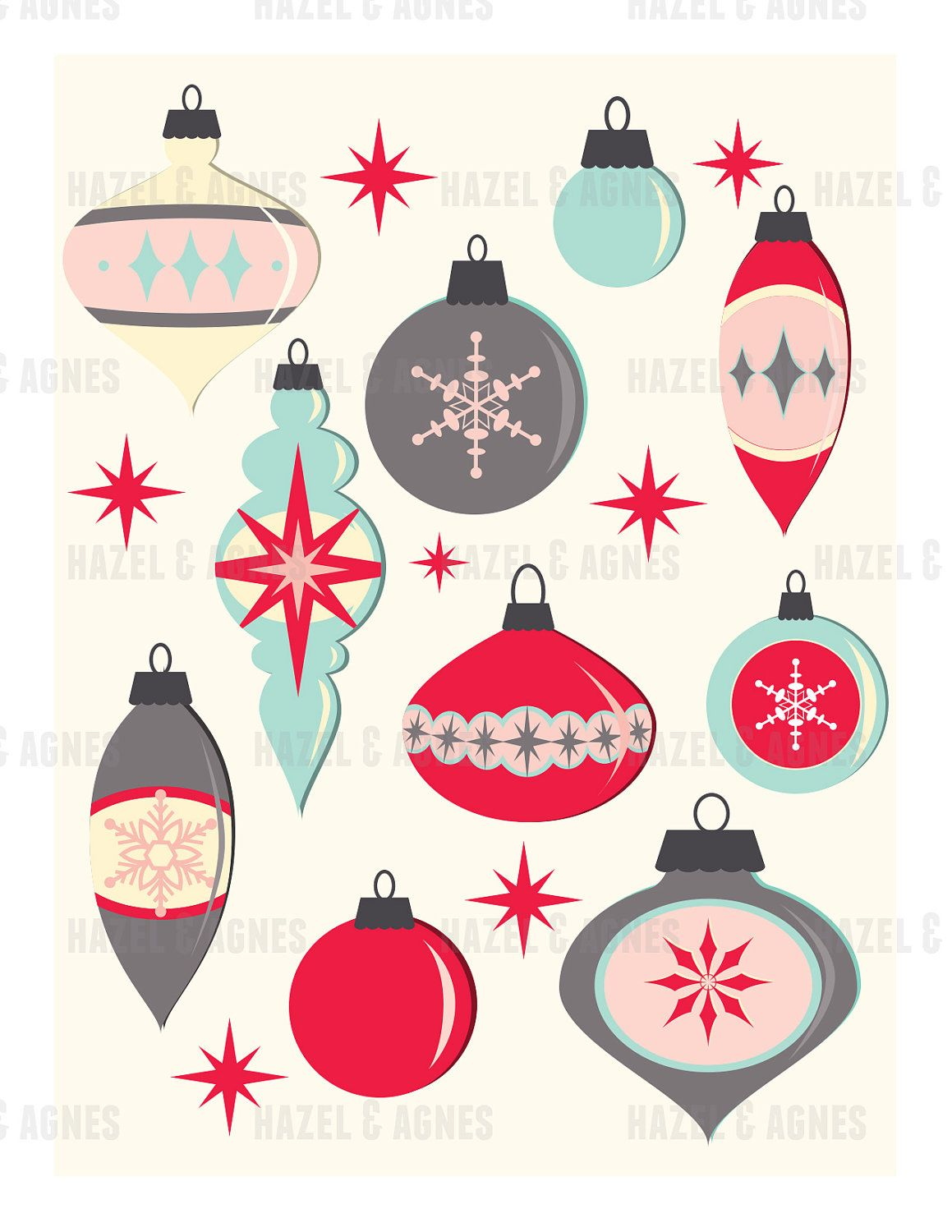 Retro Ornaments Printable Christmas Card Digital Download Retro Ornaments Holiday Crafts Christmas Vintage Christmas Cards