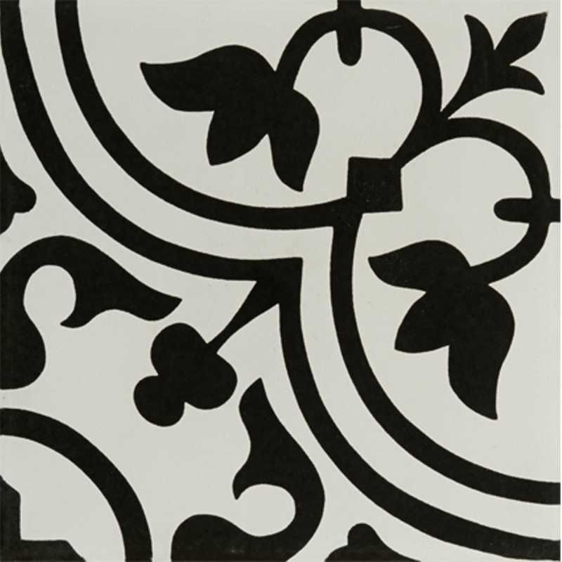 Tilery Hydraulic Black Porcelain Decorative Tile 12x12