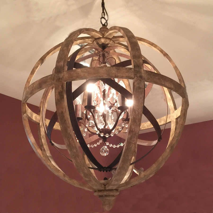 Wooden Orb Chandelier Metal Orb Detail And Crystal Wooden Orb Chandelier Orb Chandelier Wood Orb Chandelier