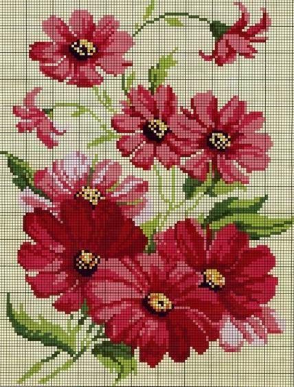 Bordados de rosas en punto de cruz punto de cruz pinterest bordados de rosas punto de - Labores en punto de cruz ...