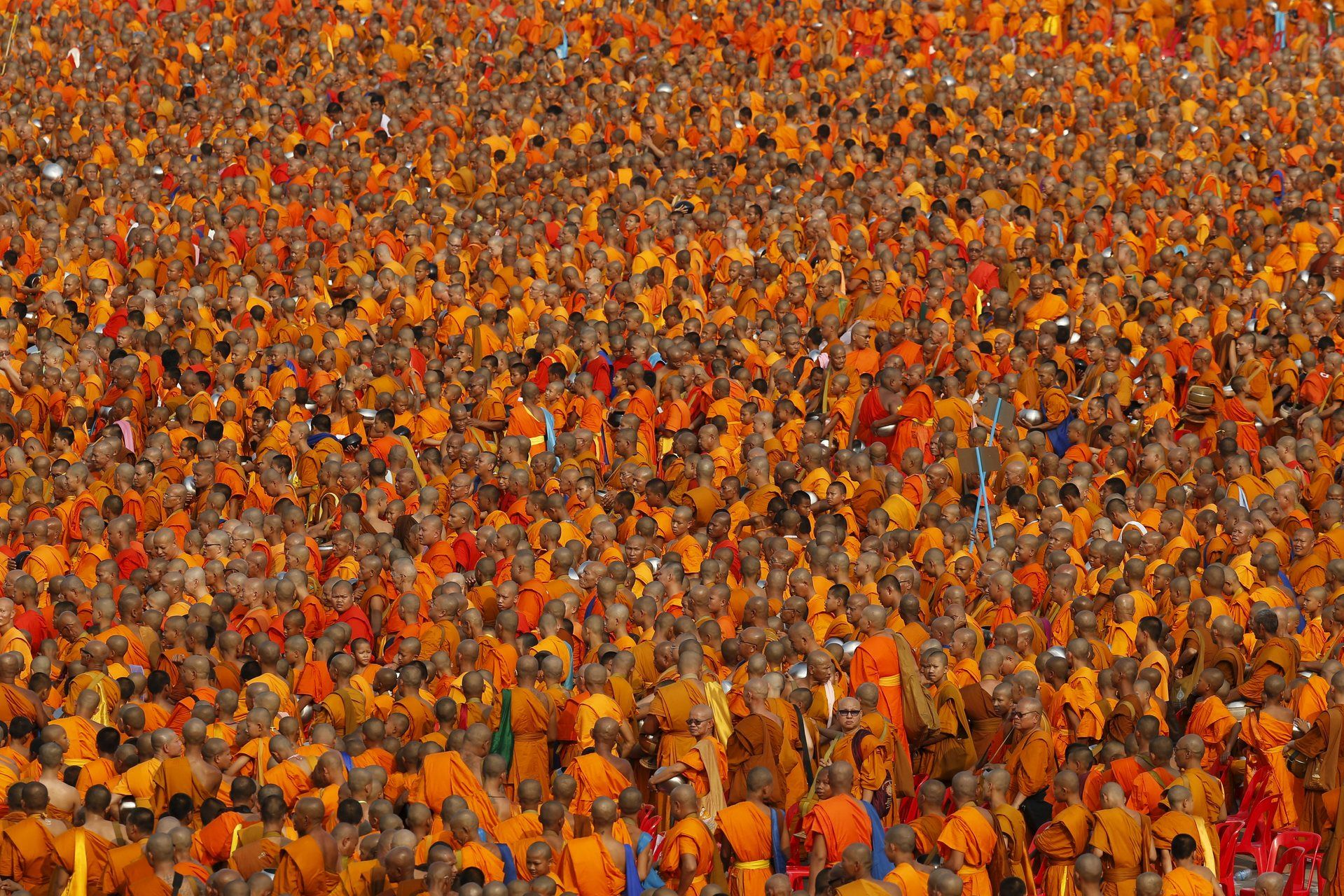 Over 100 000 Buddhist Monks And Novices Gather To Receive Alms At