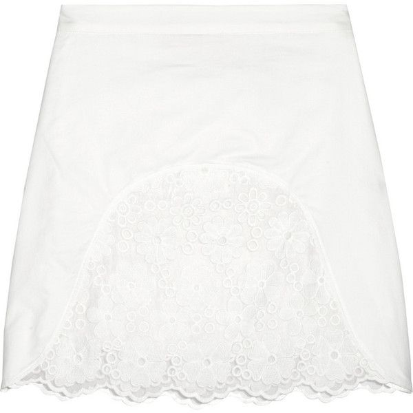 See by Chloé Embroidered voile and cotton mini skirt ($132) ❤ liked on  Polyvore