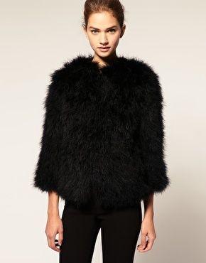 ASOS Premium Feather Jacket Real Marabou Black Evening Party 10  38  £120