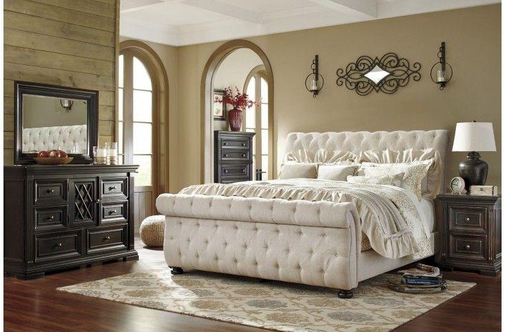Willenburg Linen Cal King Upholstered Sleigh Bed Bedroom Sets