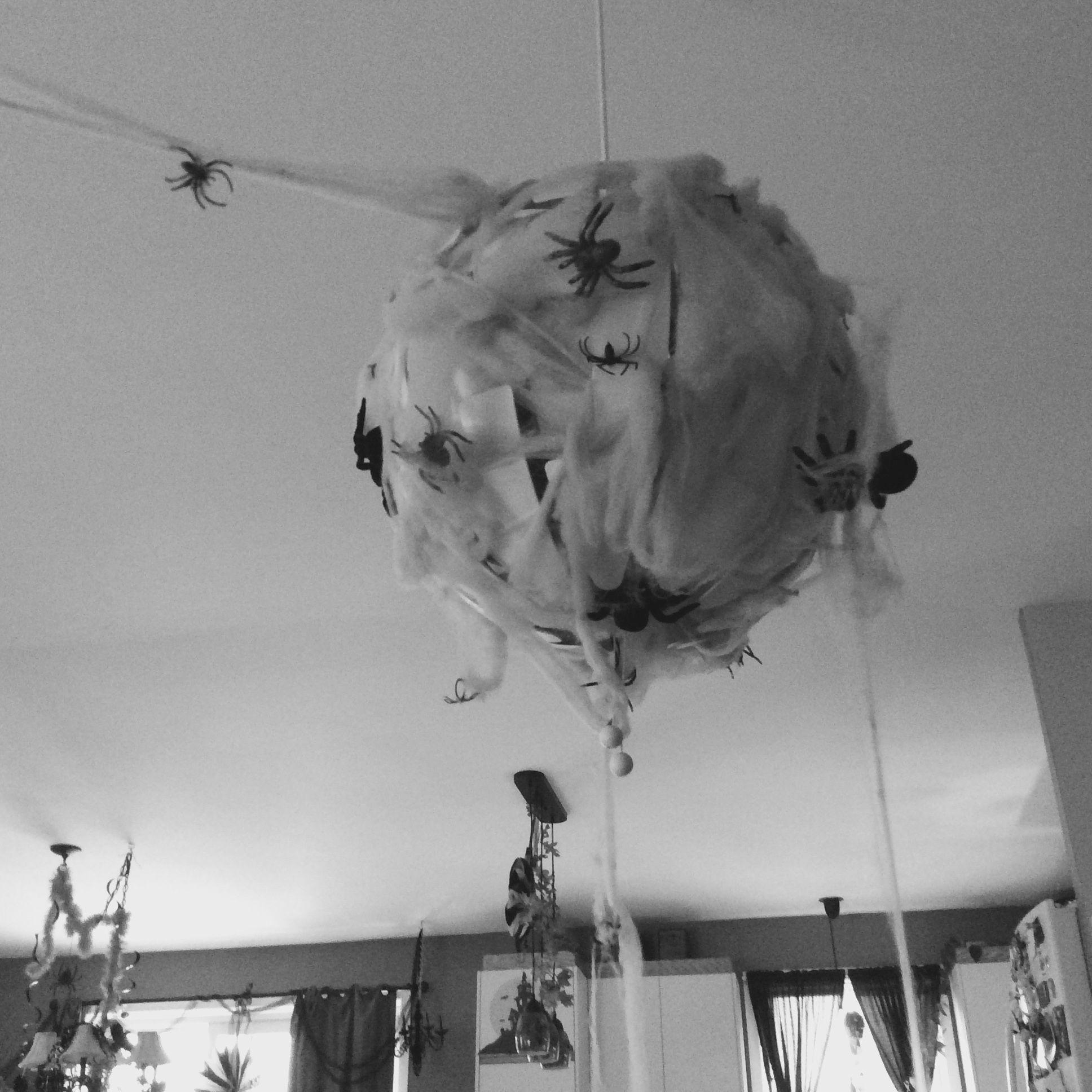 Nid d'araignées à partir d'un lustre. Décorations d'halloween