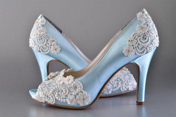 "Wedding Shoes Accessories Womens Wedding Bridal Shoes Vintage Wedding Lace Peep Toe 3 1/4"" Heels PB525A Customized Women's Bridal Shoes"