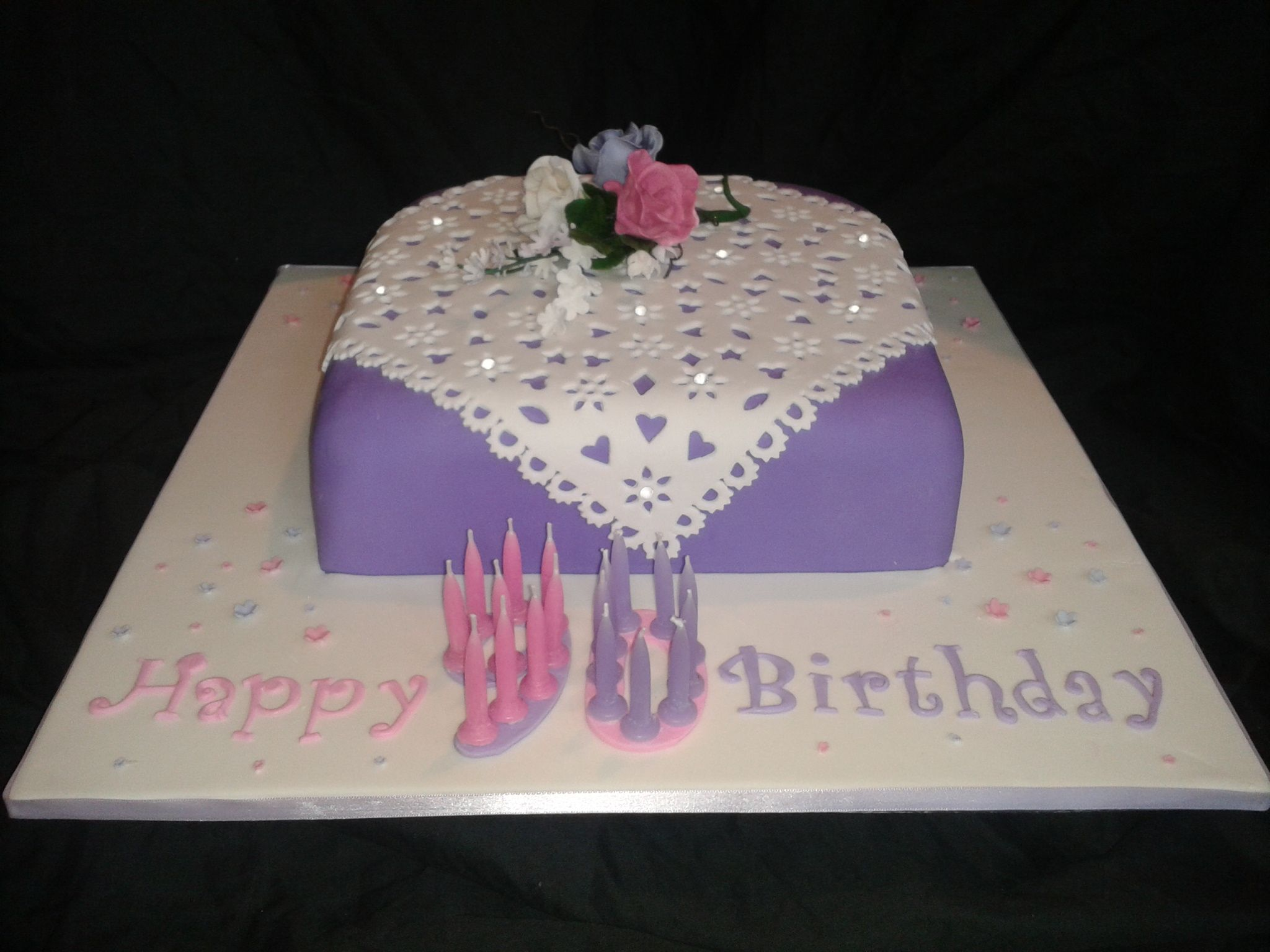 90th Birthday Cake 12 rich fruit cake covered in fondant with